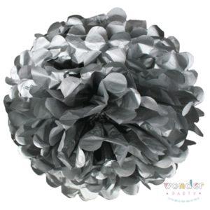 Pompón papel de seda plata