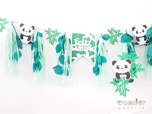 Topper para pastel Oso Panda y guirnalda