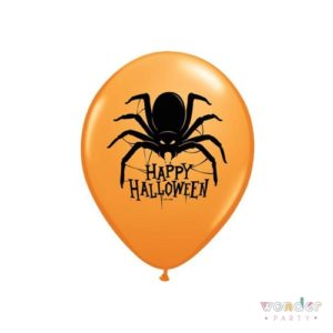 Globo látex araña Happy Halloween naranja