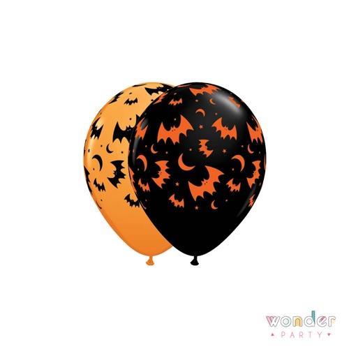 Globo látex naranja murciélagos negros