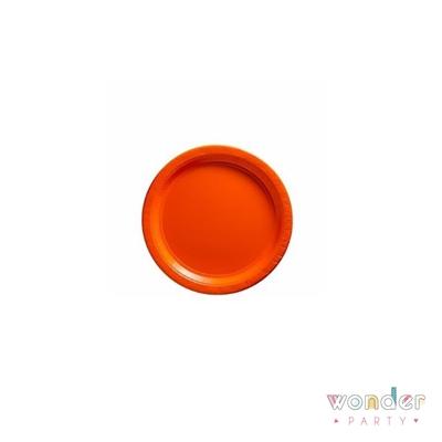 Platos de papel naranja lisos