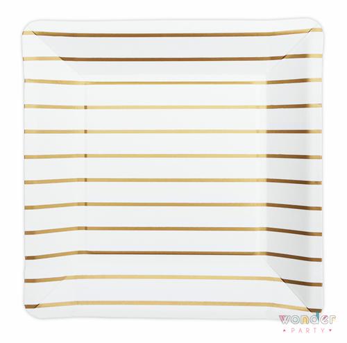 Platos cuadrados con rayas doradas