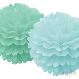 Set de dos pompones verde mint y celeste
