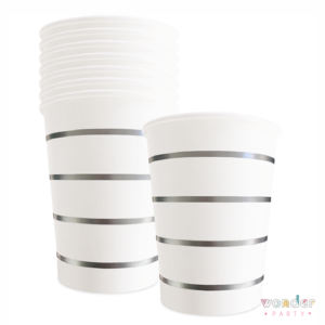 Vasos de papel blancos rayas plateadas