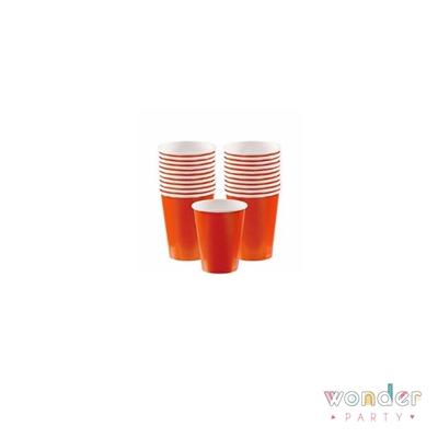 Vasos de papel naranja lisos