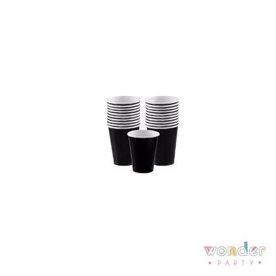 Vasos de papel negros lisos