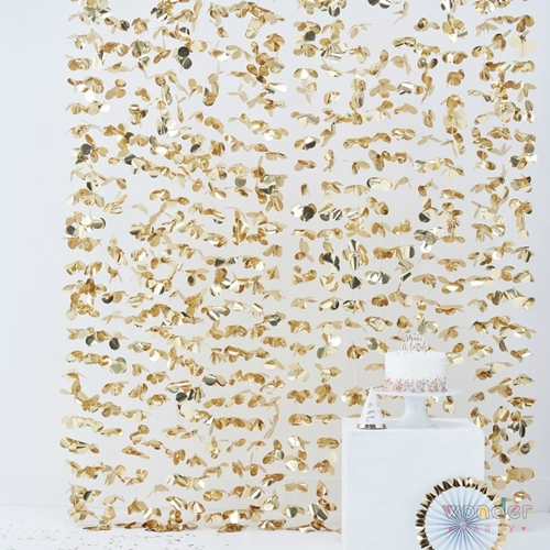 Cortina fondo photocall pétalos dorada