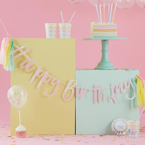 Guirnalda Happy Birthday con tassel iridiscente wonder party bcn