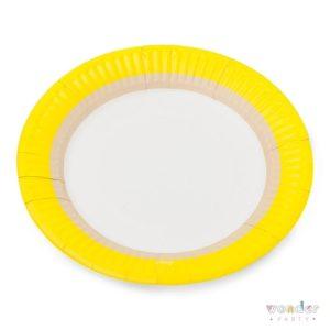 Platos de cartón amarillo limón, kraft y blanco
