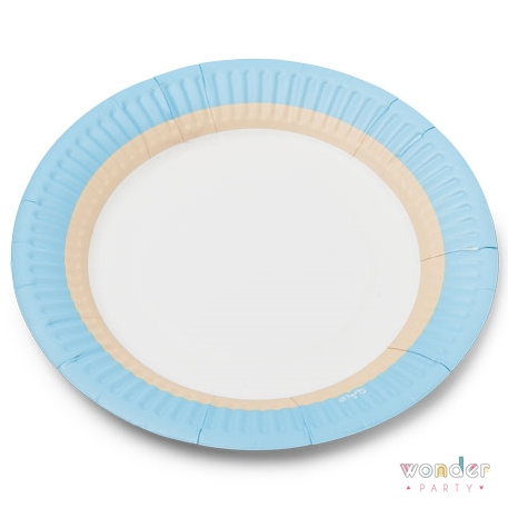Platos de cartón azul claro, kraft y blanco