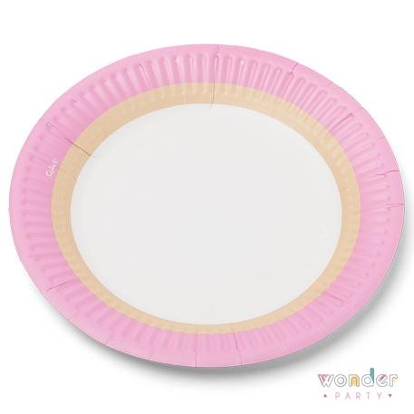 platos de cartón rosa, kraft y blanco