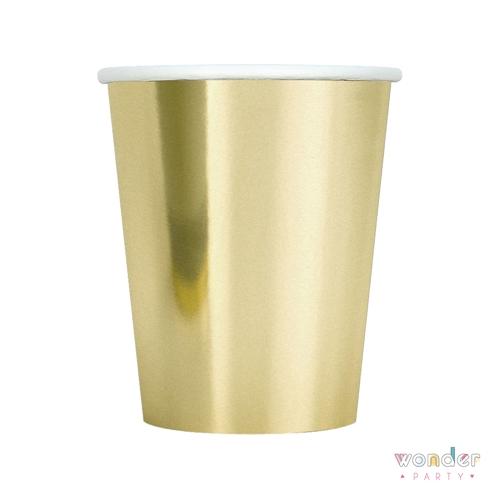Vasos dorados de papel para fiestas