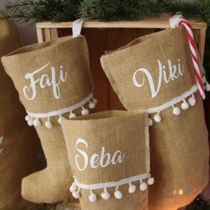 Calcetín navideño personalizado con nombre