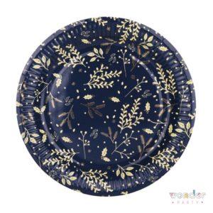 Platos forestal azul y dorado