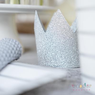 Corona glitter plata 8 unidades purpurina princesas. Wonder party bcarcelona, girona