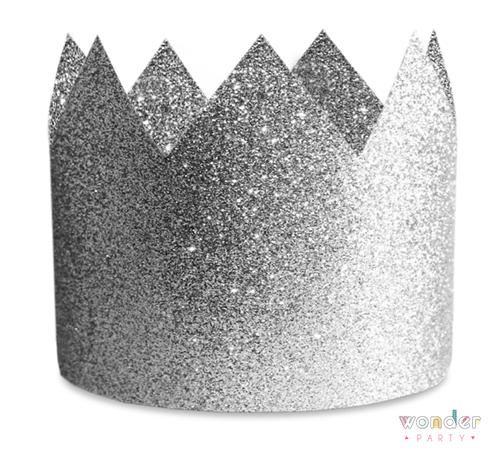 Corona glitter plata 8 unidades