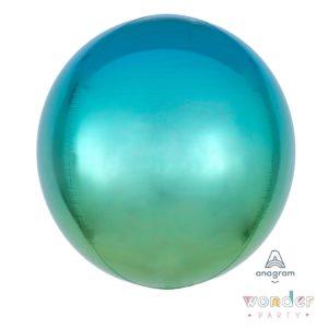 Globo Orbit degradé azul, azul caribe, verde mint