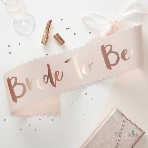 Banda para novia Bride to be oro rosa