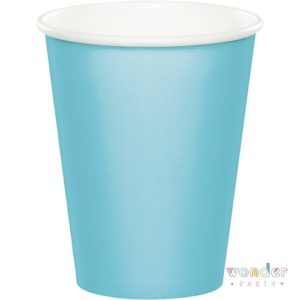 Vasos de papel azul pastel