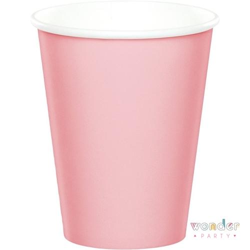 Vasos de papel rosa pastel lisos