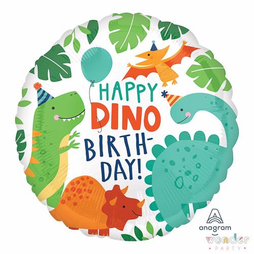 Globo Foil Happy Birthday Dinosaurios 17in-43cm