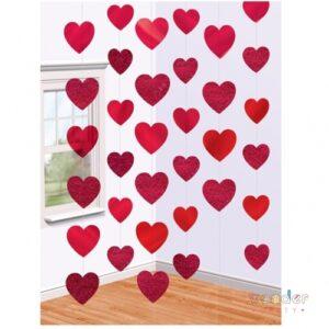Cortina corazones rojos
