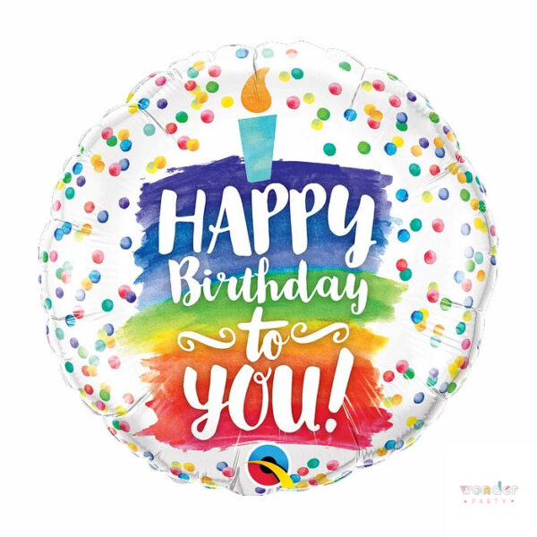 Globo Foil Happy Birthday arco iris qualatex