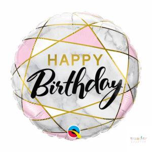 Globo Foil Happy Birthday marmol rosado