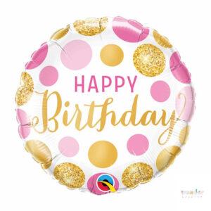 Globo Foil Happy Birthday dots dorados rosados