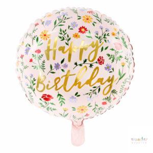 Globo Foil Happy Birthday Flores de Jardín