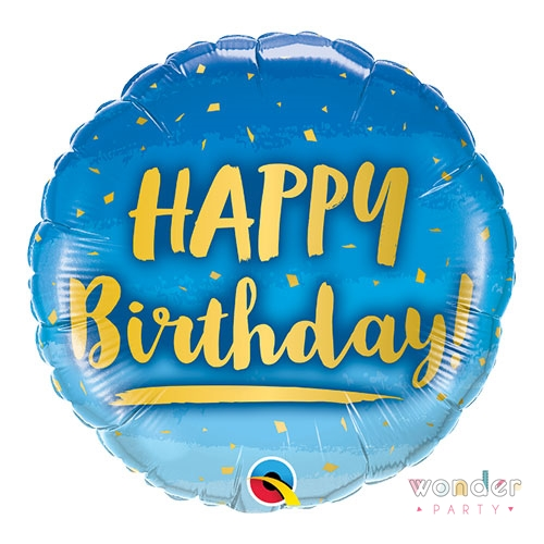 Globo Foil Happy Birthday azul dorado